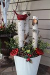 Patrices winter planter with birch and bird