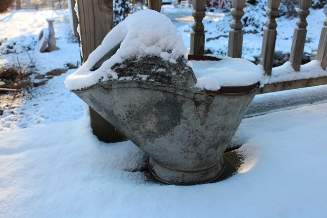 Lettuce bucket in snow